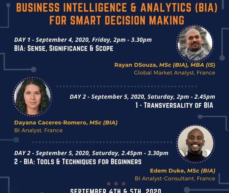 "International Webinar on ""Business Intelligence & Analytics (BIA) for Smart Decision Making"