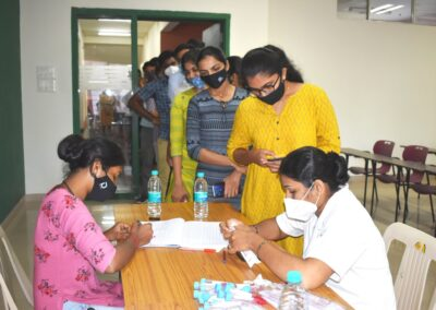 Students undergo COVID testing at AIMIT